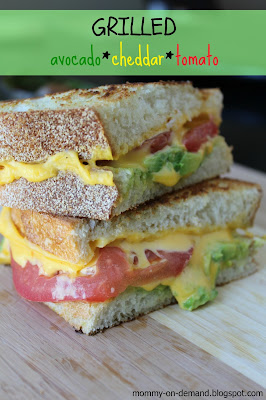 Grilled avocado cheddar tomato